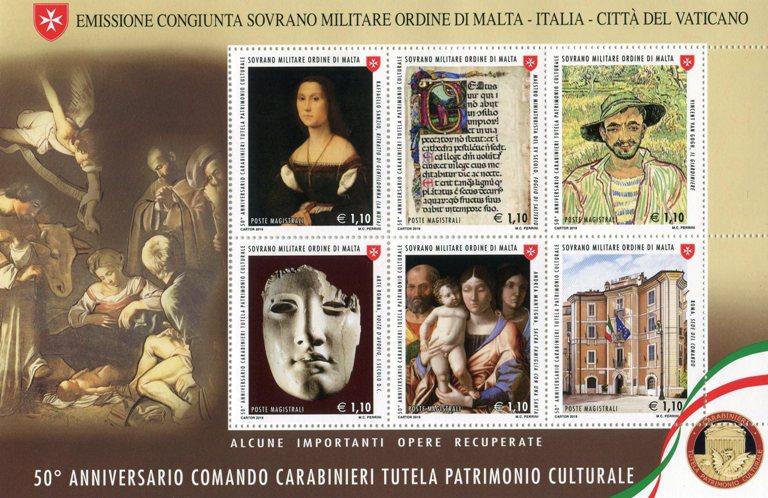2019 - 50° Anniversario Comando Carabinieri Tutela patrimonio culturale - Foglietto SMOM