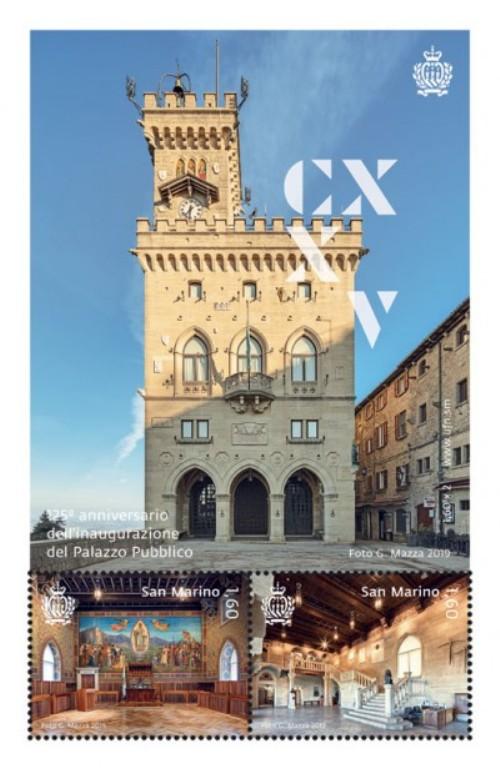 new 2019 - emissione 2 ottobre- 125° inaugurazione palazzo Pubblico - Foglietto